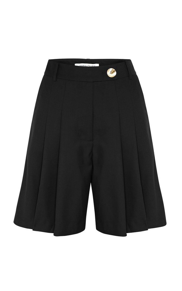 Oscar Pleated Wool-Blend Shorts