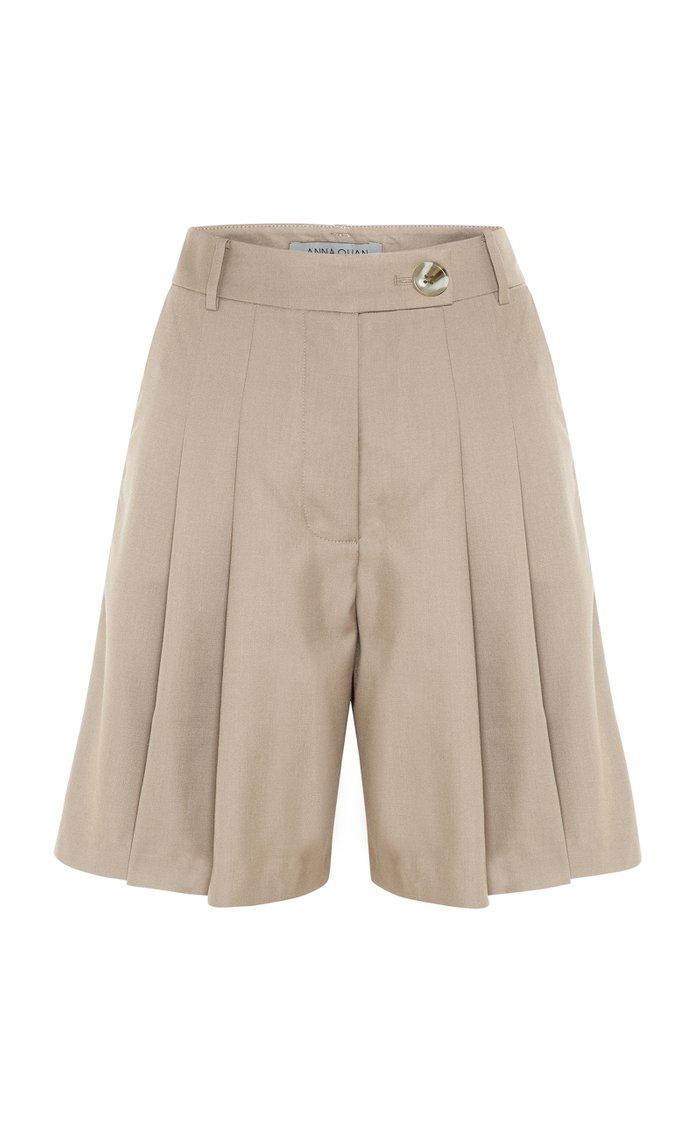 Oscar Pleated Wool-Blend Shorts