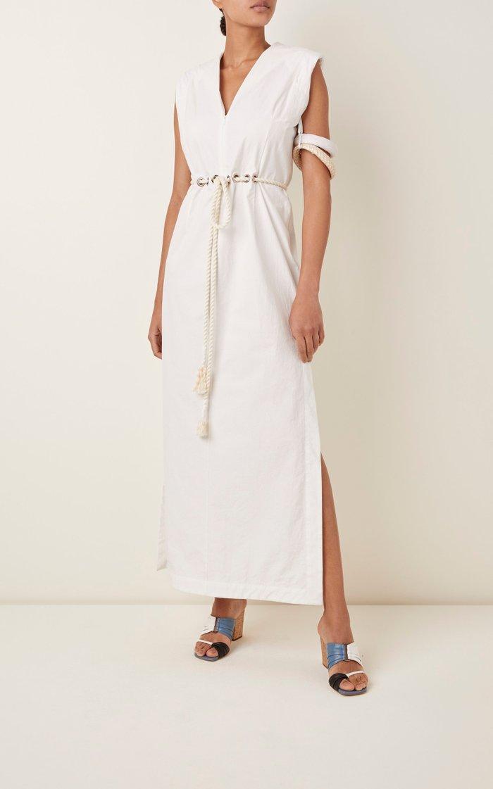 Embellished Belted Cotton-Poplin Midi Dress