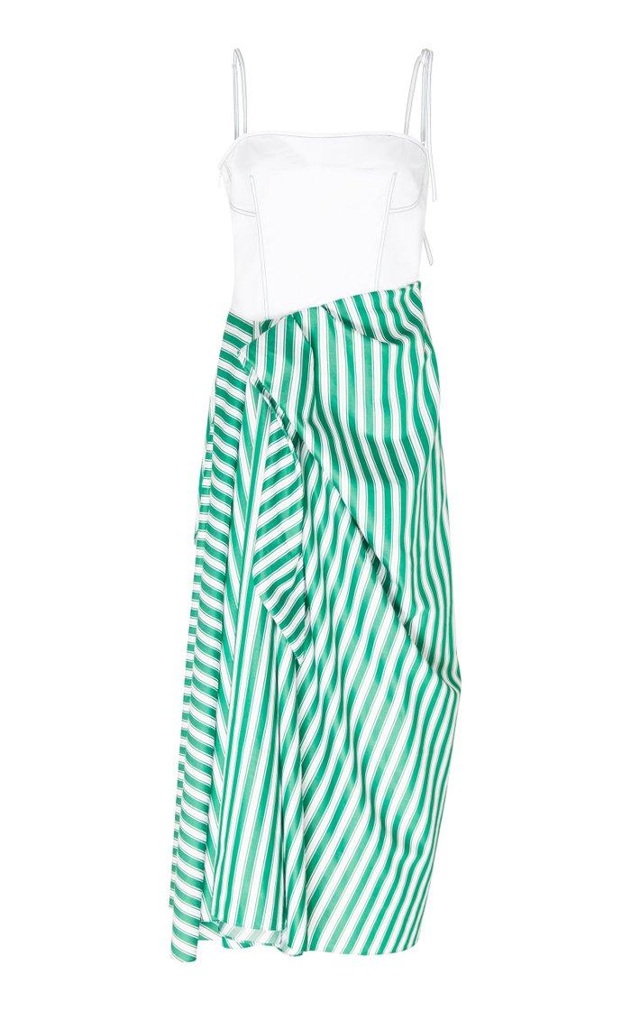Asymmetric Striped Cotton-Poplin Midi Dress