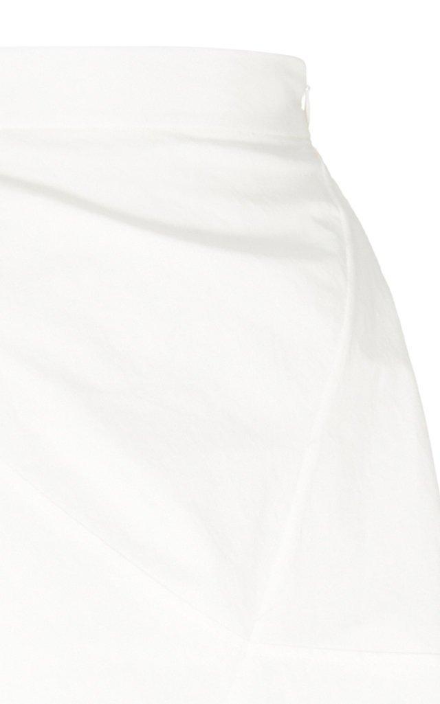 Asymmetric Cotton-Poplin Midi Skirt