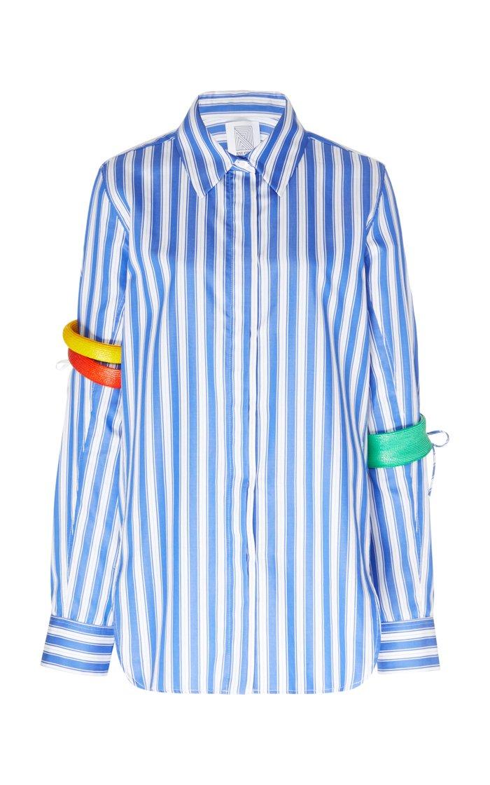 Bangle-Embellished Striped Cotton-Poplin Shirt