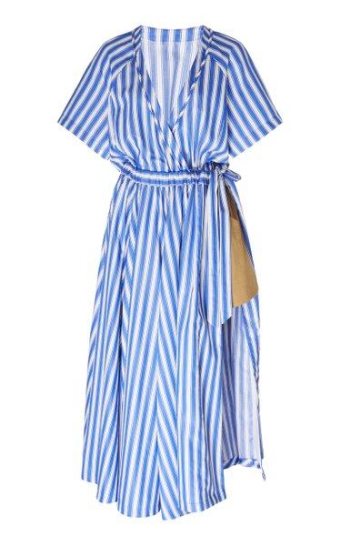 Striped Cotton-Poplin Wrap Dress