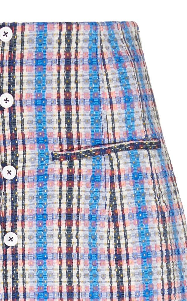 Plaid Cotton-Blend Midi Skirt