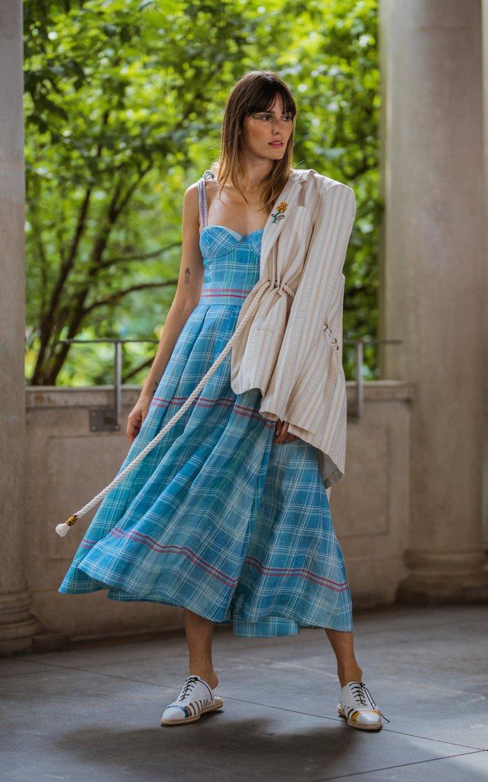 Pleated Plaid Linen Midi Skirt