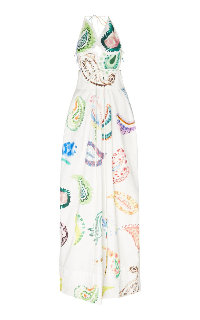 Paisley-Print Cotton-Poplin Halterneck Maxi Dress