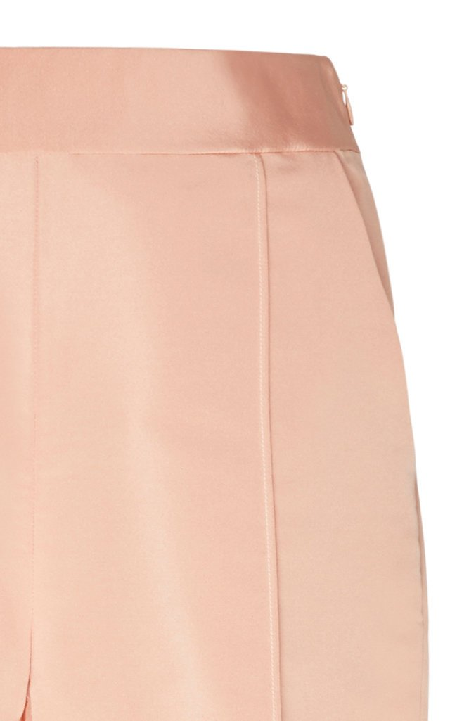 High-Waisted Straight-Leg Silk Pants