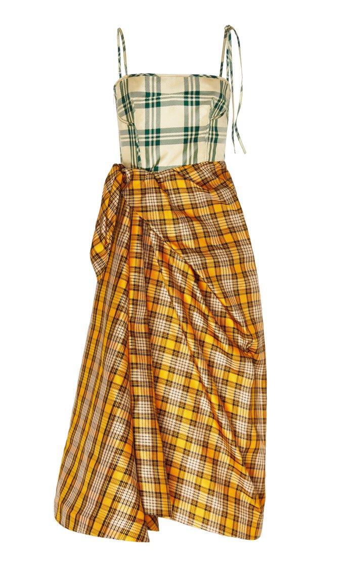 Asymmetric Checked Silk-Blend Midi Dress