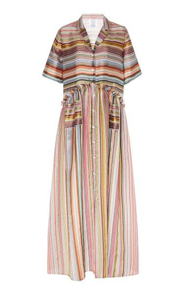 Striped Silk-Blend Maxi Dress