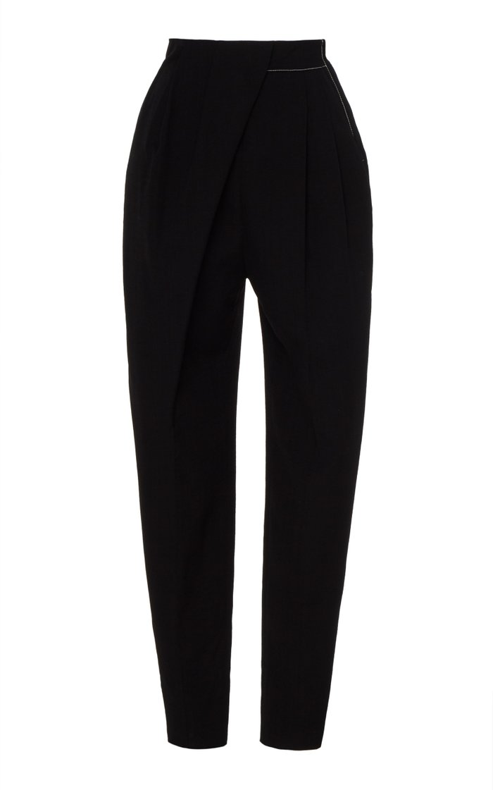 Contrast-Stitched Draped High-Rise Trousers