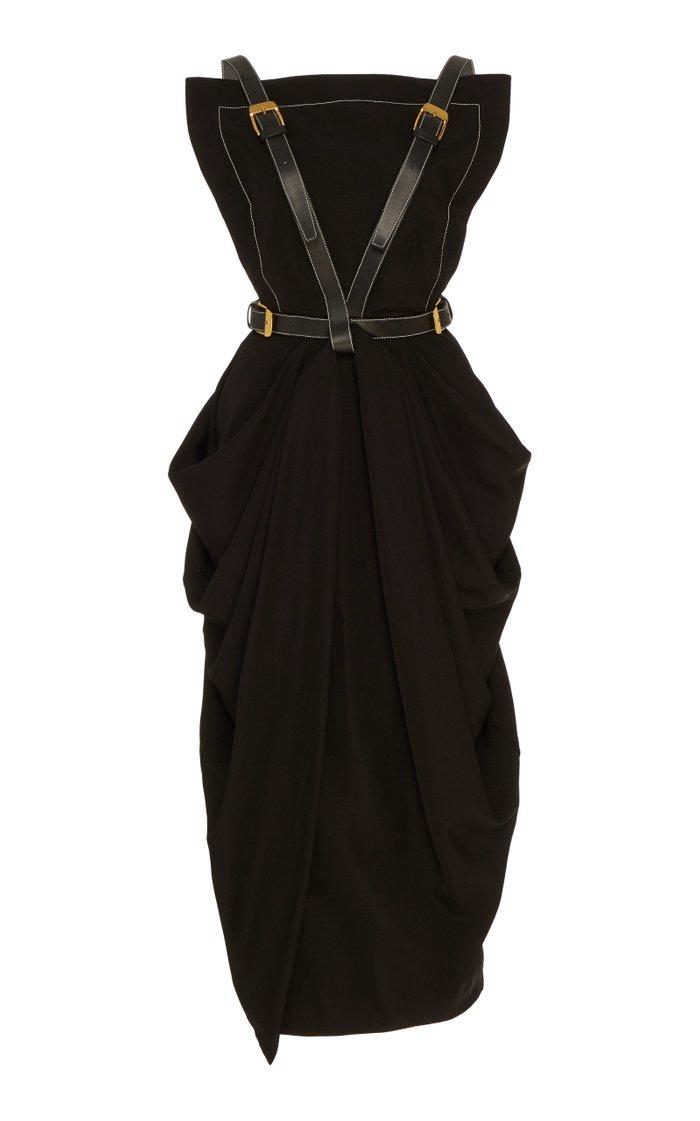 Buckle-Detailed Midi Apron Dress