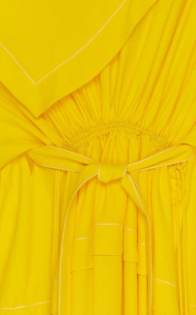 Draped Jersey Bandana-Neck Maxi Dress