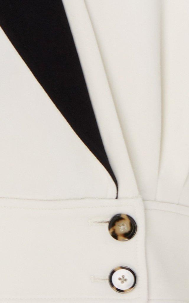 Contrast-Lapel Cropped Blazer
