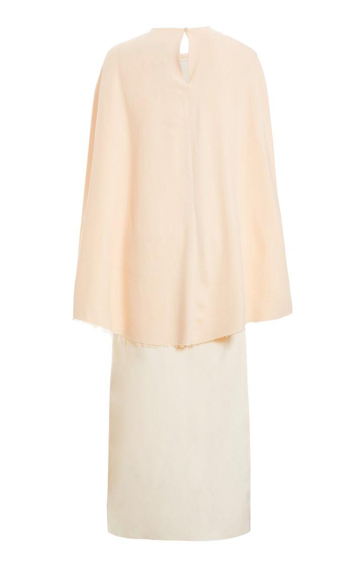 Exclusive Draped Cape-Effect Satin Dress
