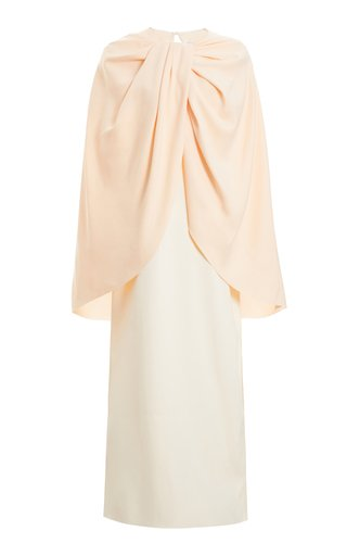 Exclusive Draped Cape-Effect Satin Dress