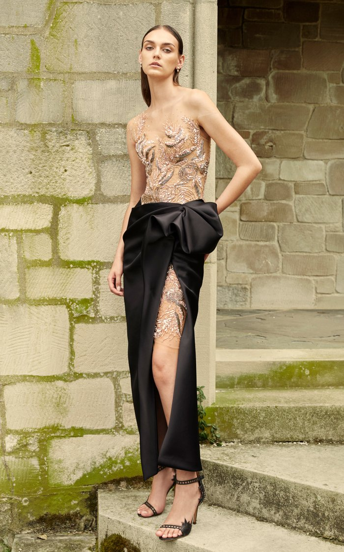 Embroidered Satin-Tulle Dress
