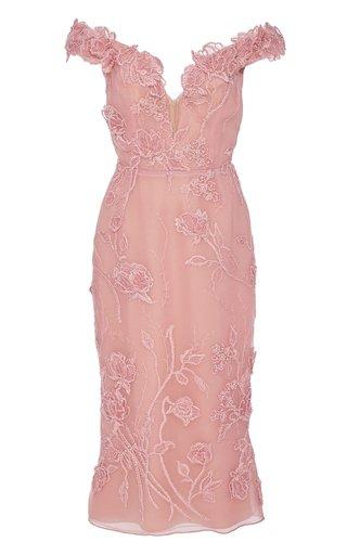 Cold-Shoulder Beaded Tulle Dress
