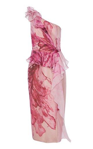 Floral-Print One-Shoulder Silk Peplum Dress
