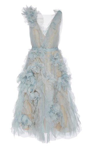 Sleeveless Ruffled Organza Midi Dress
