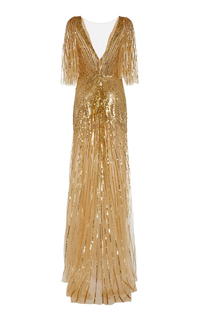Sequined Chiffon Low-Back Gown