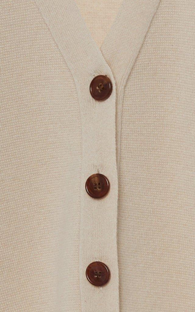 Wool-Cashmere Waffle-Knit Cardigan