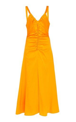 Toni Button-Detailed Crepe de Chine Midi Dress