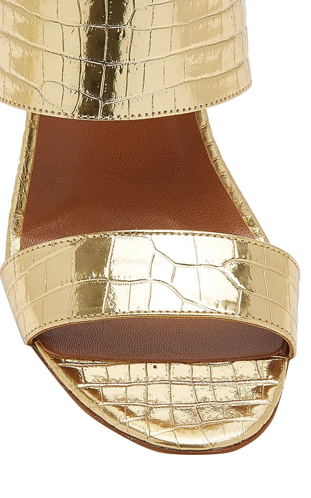 Metallic Croc-Effect Leather Sandals