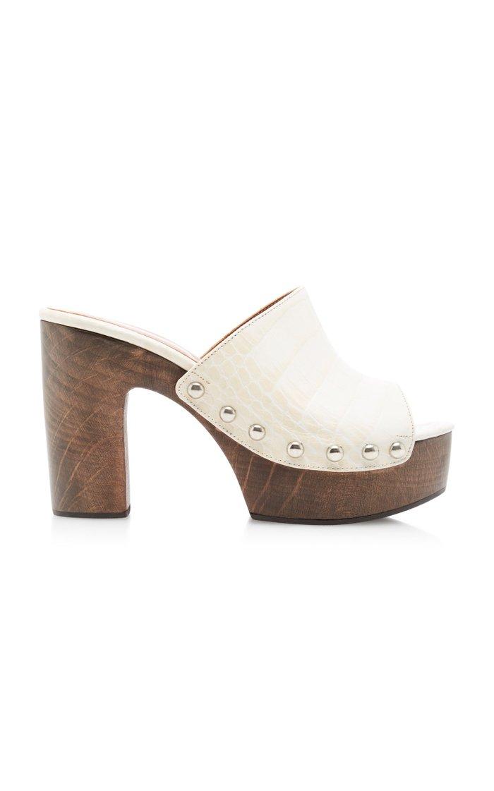 Croc-Effect Leather Platform Mules