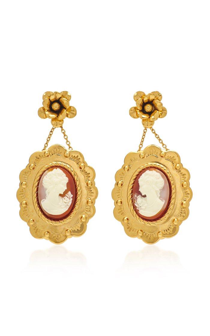 Fiorella Cameo Gold-Tone And Enamel Earrings