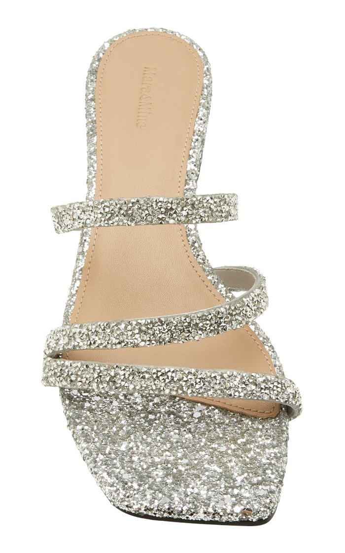 Della Glittered Leather Sandals