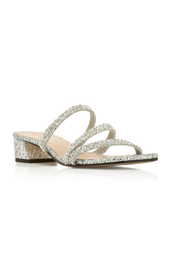 Della Glittered Leather Sandals