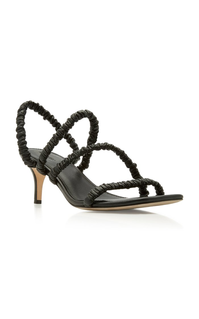 Theresa Ruched Leather Slingback Sandals
