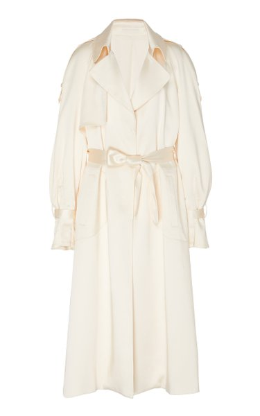 Odette Ruffled Satin Coat