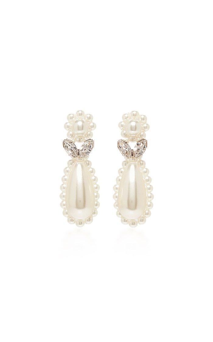 Crystal and Faux-Pearl Flower Drop Earrings