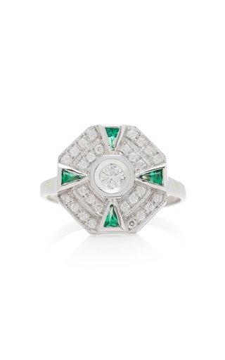 18K White Gold, Diamond And Tsavorite Ring