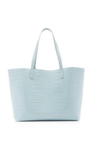 Croc-Embossed Leather Tote Bag