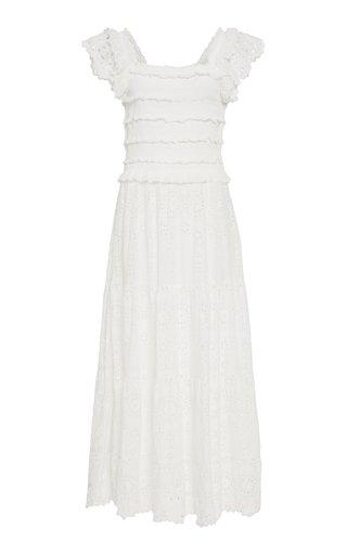 Daisy Smocked Cotton-Poplin Midi Dress