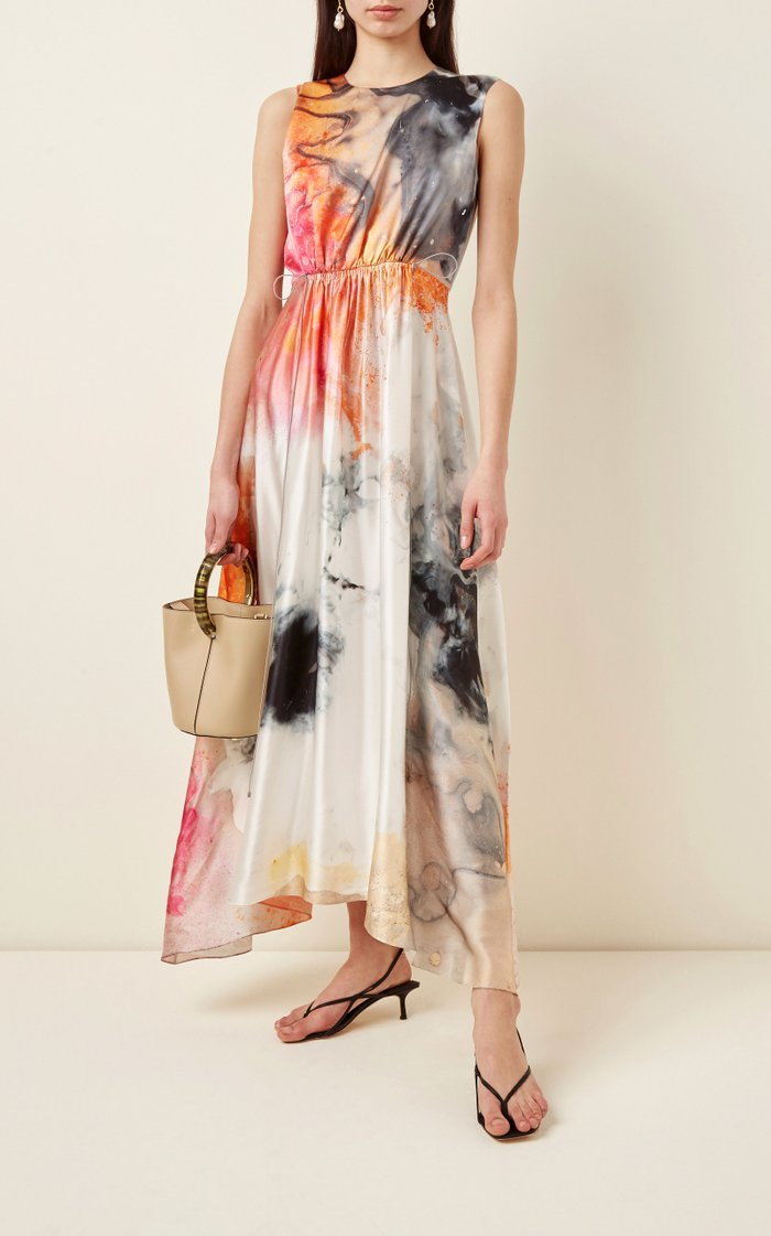 Nysa Printed Silk Maxi Dress