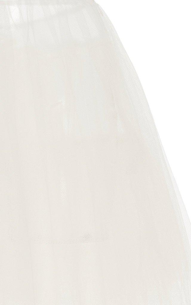 Lace-Trimmed Organza Midi Skirt