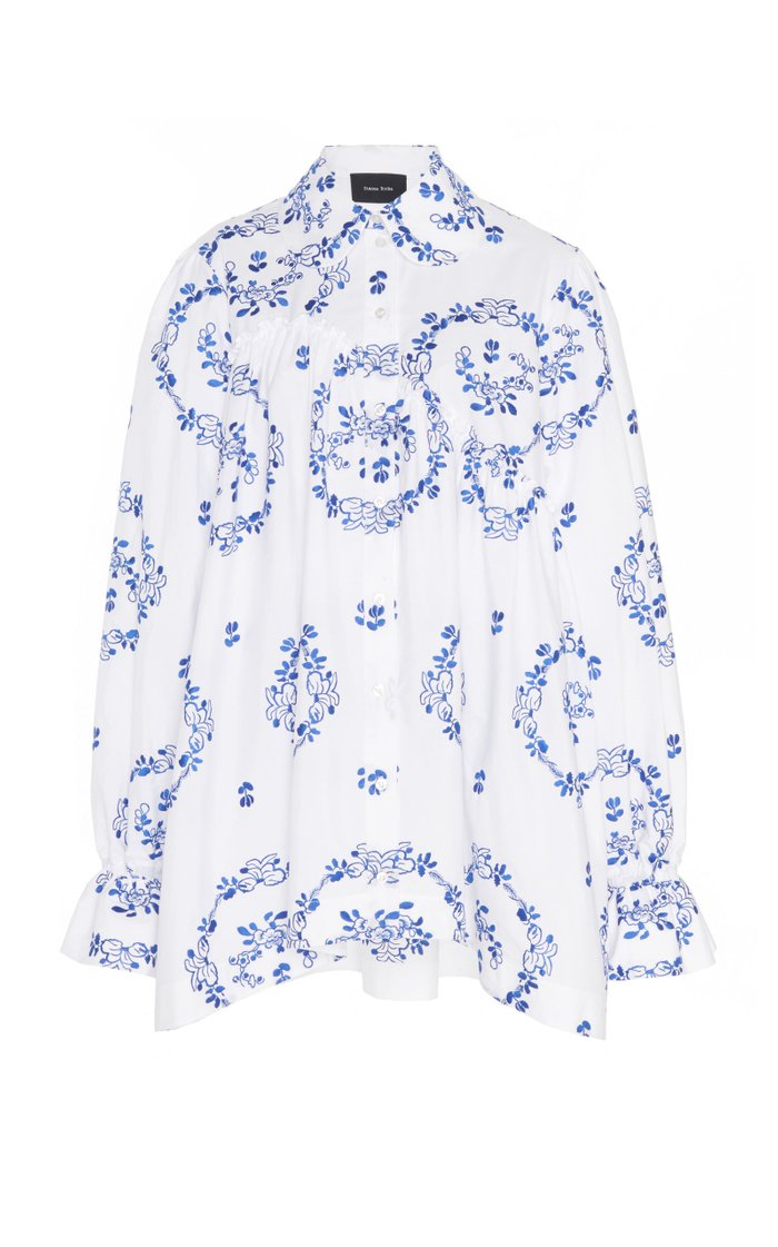 Printed Stretch-Cotton Top