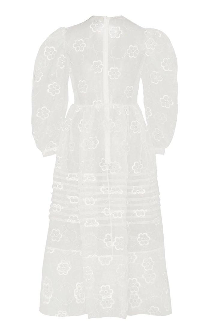 Pleated Organza Midi Dress