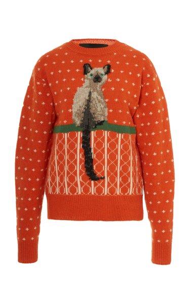 Cat-Jacquard Wool Sweater