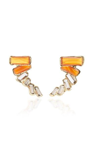 Kaxinawa 18K Gold, Carnelian And Quartz Earrings