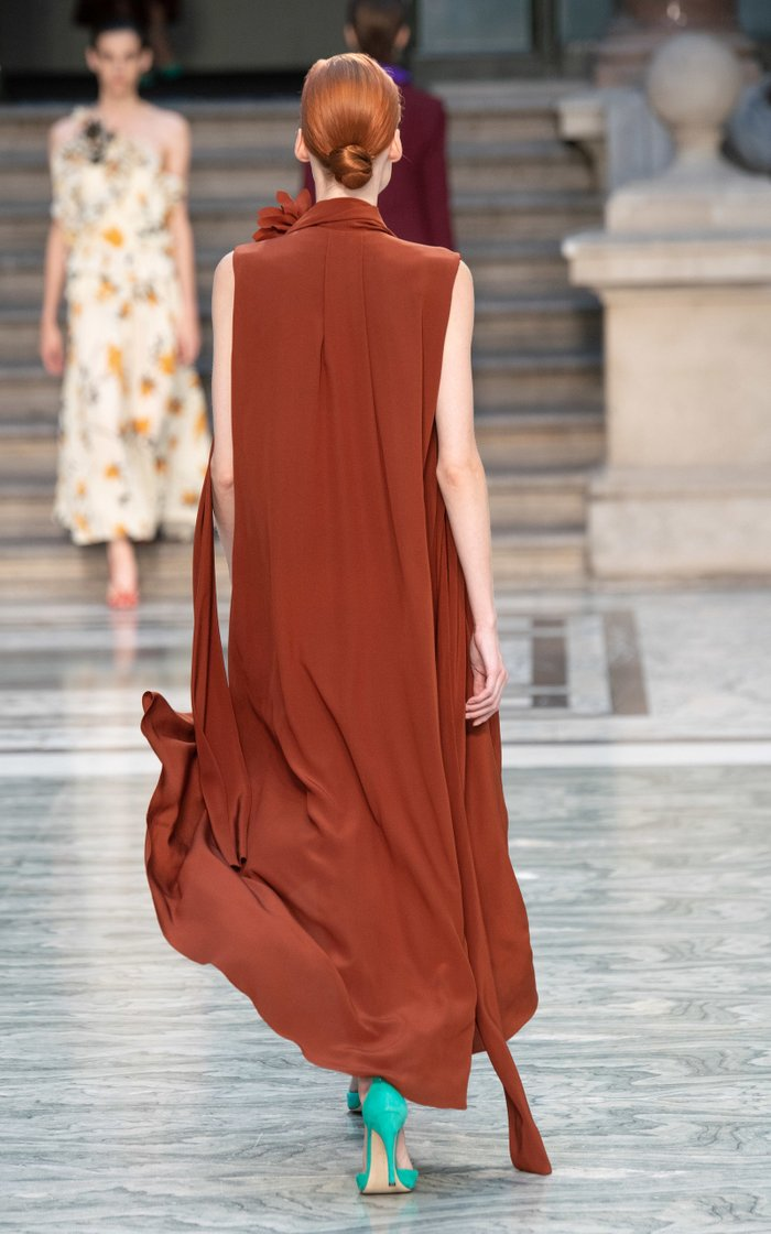 Scarf-Detail Silk-Chiffon Midi Dress