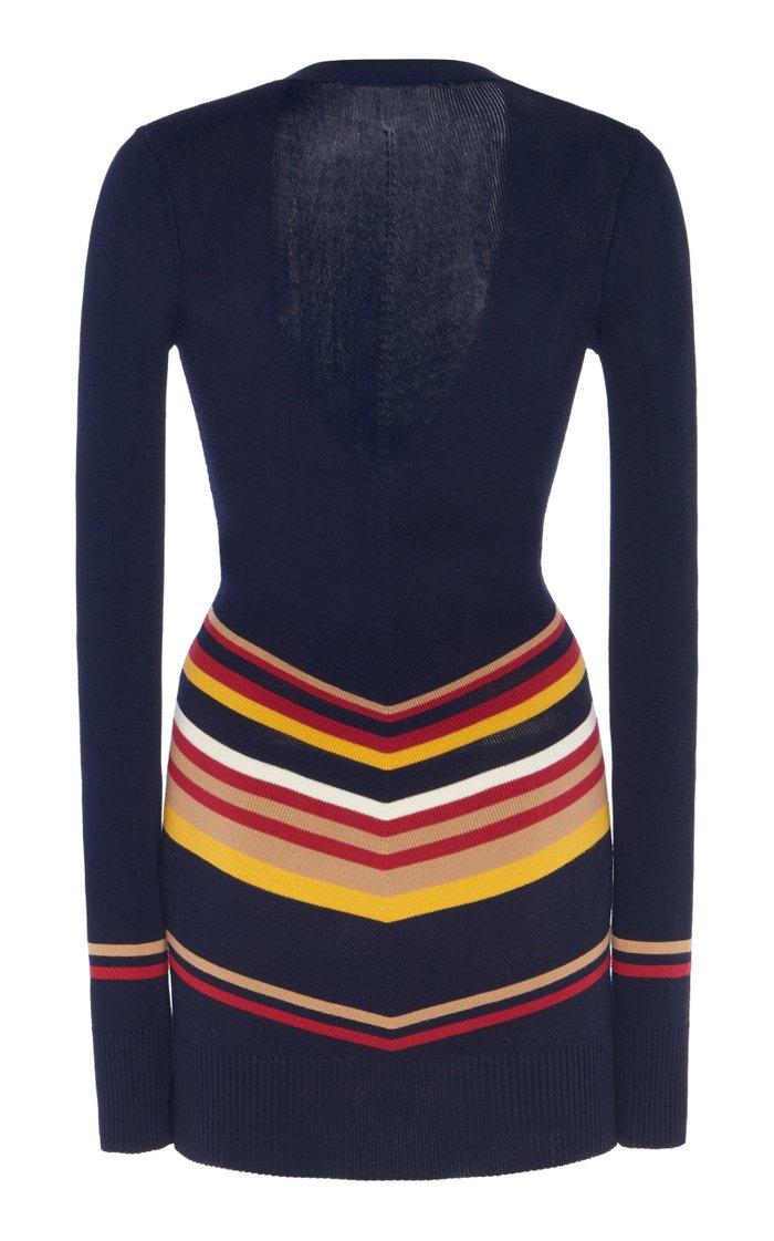 Striped Stretch Cotton-Blend Cardigan