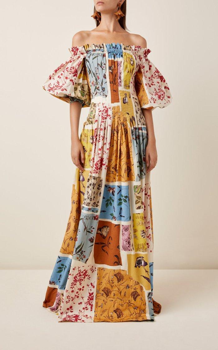 Printed Off-The-Shoulder Poplin Dress