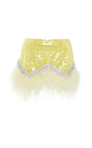 Embellished Feather-Trimmed Crepe Skirt