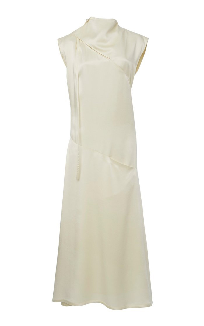Marianthi Draped Satin Midi Dress