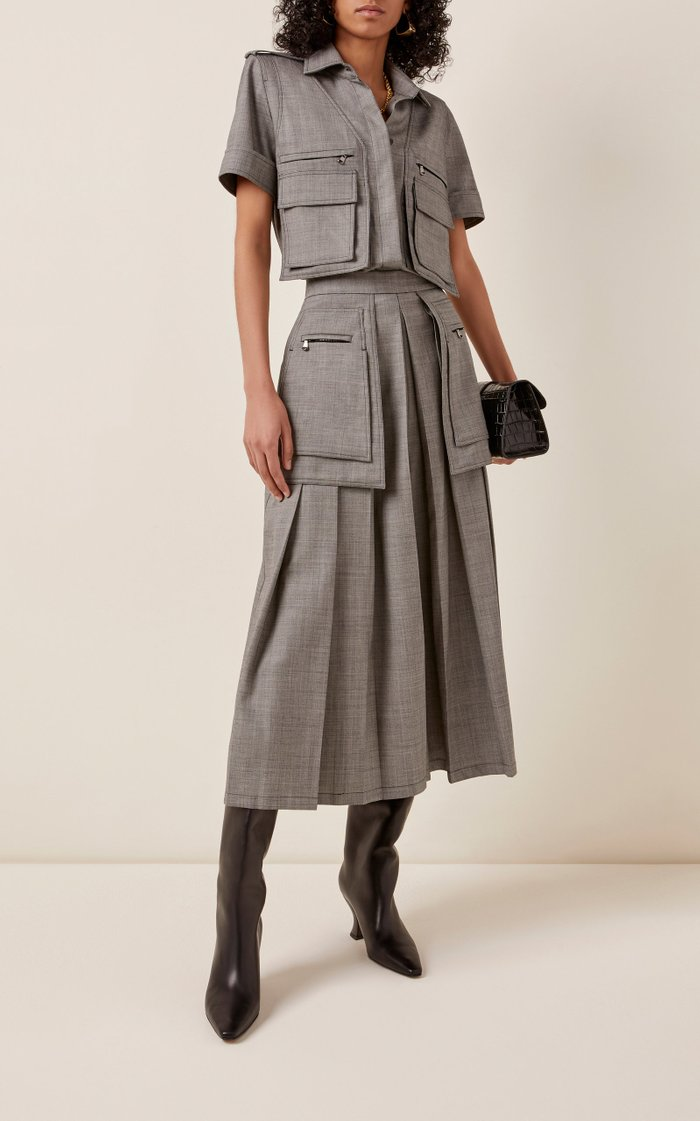 Marmo Pleated Wool-Blend Culottes