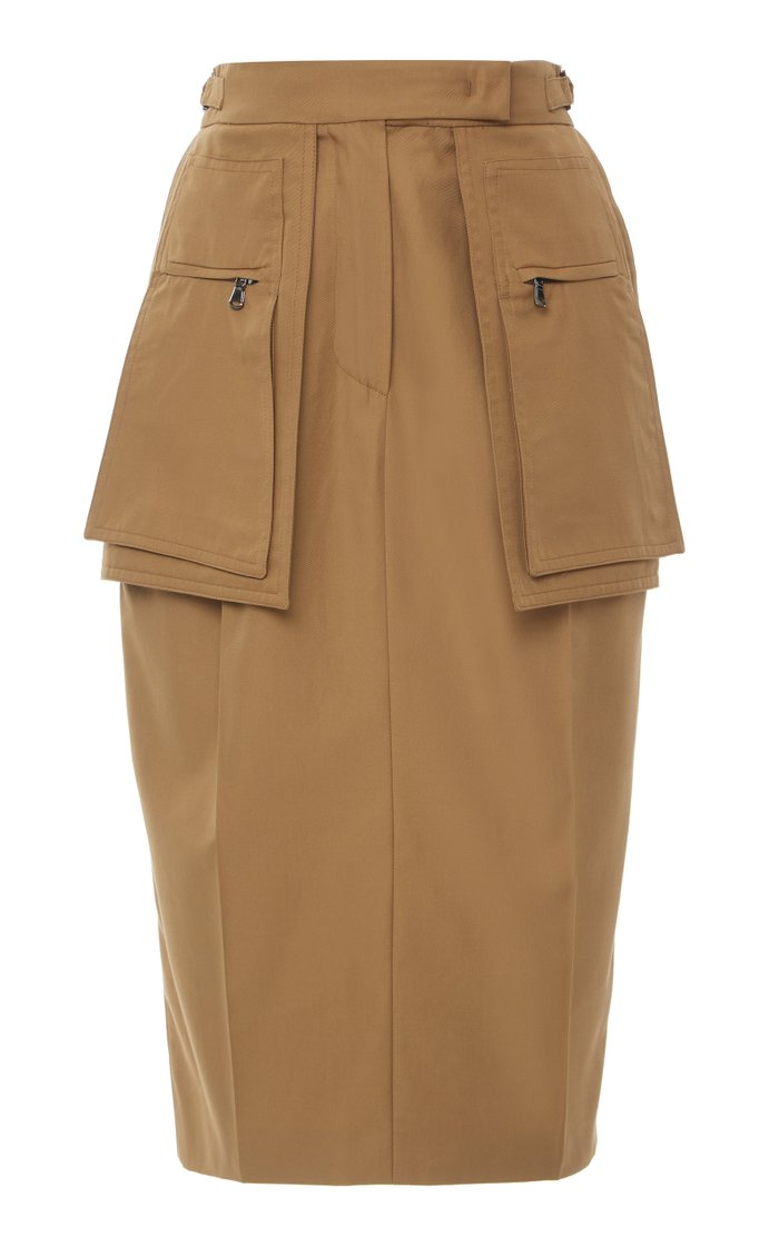 Bosso Cotton-Gabardine Knee-Length Skirt